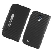 Insten Carbon Fiber Folio Leather Fabric Cover Case w/stand/card holder/Photo Display For Samsung Galaxy S4 - Black