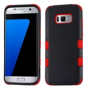 Insten TUFF [Shock Absorbing] Hybrid PC/Silicone Cover Case For Samsung Galaxy S8+ S8 Plus - Natural Black/Red