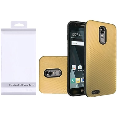 Insten Embossed Lines Hard Dual Layer Plastic TPU Cover Case For LG Stylo 3/Stylo 3 Plus - Gold/Black