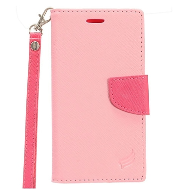 Insten PU Leather Wallet Flip Cover Stand Credit Card Case For Samsung Galaxy J3 (2017) - Hot Pink