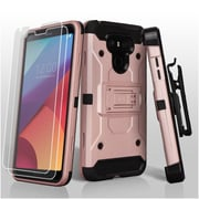 Insten 3-in-1 Kinetic Hybrid Holster Case Combo with 2x Protectors For LG G6 - Gold