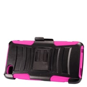 Insten Advanced Armor Hybrid Stand Hard PC/Silicone Holster Case for Alcatel Idol 5 - Black/Hot Pink