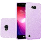 Insten Hybrid Clear PC/TPU Case Cover with Glitter Paper For LG X Power 2 - Purple