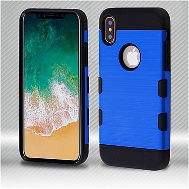 Insten Tuff Dual Layer Hybrid Brushed PC/TPU Rubber Case Cover for Apple iPhone X - Blue/Black