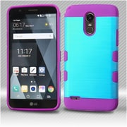 Insten Brushed TUFF Trooper (Shock Absorbing) Hybrid PC/TPU Case with Package For LG Stylo 3 - Baby Blue/Electric Purple
