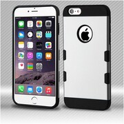Insten Shock Absorbing TUFF Trooper Dual Layer Hybrid PC/TPU Case For Apple iPhone 6s Plus / 6 Plus - Silver
