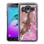 Insten Eiffel Tower Quicksand (Hearts) Glitter Hybrid Case For Galaxy Amp Prime/Express Prime/J3 (2015)/Sky/Sol - Pink