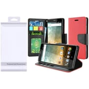 Insten Flip Leather Fabric Cover Case w/stand/card holder/Photo Display For ZTE Prestige 2 N9136 - Red