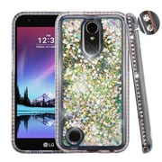 Insten Quicksand Hard Plastic/Soft TPU Rubber Case Cover For LG Harmony/K10 (2017)/K20 Plus/K20 V - Silver