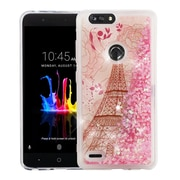 Insten Quicksand Glitter Eiffel Tower PC/TPU Rubber Case Cover for ZTE Blade Z Max/Sequoia - Pink