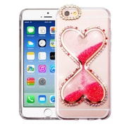 Insten Transparent 3D Double Hearts Quicksand Glitter Hard PC/TPU Hybrid Case for Apple iPhone 6 / 6s - Hot Pink