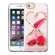 Insten Transparent 3D Double Hearts Quicksand Glitter Hard PC/TPU Hybrid Case for Apple iPhone 6s Plus/6 Plus - Hot Pink