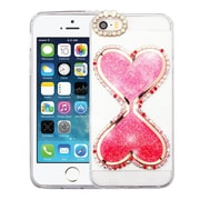 Insten Transparent 3D Double Hearts Quicksand Glitter Hard PC/TPU Hybrid Case for Apple iPhone SE / 5 / 5S - Hot Pink