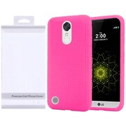 Insten Rubber Silicone Skin Gel Case Cover with Package For LG Harmony/K10 (2017)/K20 Plus/K20 V - Hot Pink