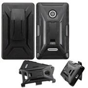 Insten Hard Dual Layer Plastic Silicone Cover Case w/ Holster For Microsoft Lumia 435 (Black)