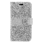 Insten Folio Leather Diamante Cover Case w/card holder For Samsung Galaxy S8 Plus - Silver