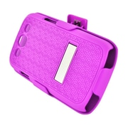 Insten Rubberized Hard Snap-in Holster Stand Case Cover For Samsung Galaxy S3 - Hot Pink
