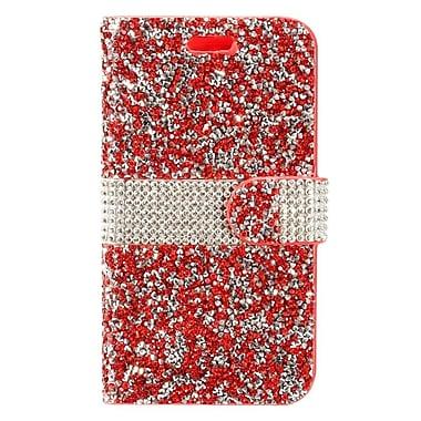 Insten Rhinestone Diamond Bling Leather Wallet Flip Case For Samsung Galaxy Amp Prime 2/J3 (2017)/J3 Emerge - Red/Silver
