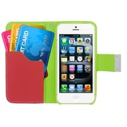 Insten Multicolor Leather Wallet Flip Card Pouch Case Cover For Apple iPhone 5 / 5S - Yellow/Pink