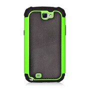 Insten Armor Vision Dual Layer Hybrid Rubberized Hard PC/Silicone Case Cover For Samsung Galaxy Note II - Black/Green
