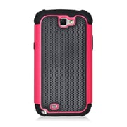 Insten Armor Vision Dual Layer Hybrid Rubberized Hard PC/Silicone Case Cover For Samsung Galaxy Note II - Black/Hot Pink