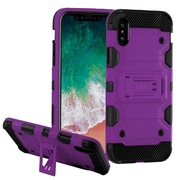 Insten Storm Tank Dual Layer Hybrid Stand PC/TPU Rubber Case Cover for Apple iPhone X - Purple/Black