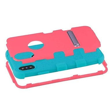 Insten Tuff Dual Layer Hybrid Stand PC/TPU Rubber Holster Case Cover for Apple iPhone X - Hot Pink/Teal