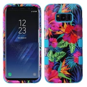 Insten Electric Hibiscus/Tropical Teal TUFF Hybrid Shock Absorbing Hard PC/Silicone Case For Samsung Galaxy S8+ S8 Plus