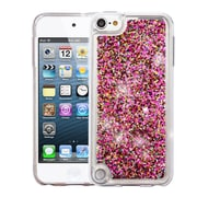 Insten Polygons Quicksand Glitter Hybrid Hard PC/TPU Case Cover For Apple iPod Touch 5th Gen / 6th Gen - Hot Pink