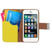 Insten Multicolor Leather Wallet Flip Card Pouch Case Cover For Apple iPhone 5 / 5S - Black/Yellow