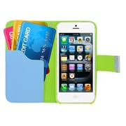 Insten Multicolor Leather Wallet Flip Card Pouch Case Cover For Apple iPhone 5 / 5S - Green/Blue