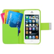 Insten Multicolor Leather Wallet Flip Card Pouch Case Cover For Apple iPhone 5 / 5S - Green/Orange