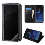 Insten Genuine Leather MyJacket Wallet Flip Stand Credit Card Case For Samsung Galaxy S8 Plus S8+ - Black