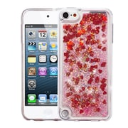 Insten Hearts Quicksand Glitter Hybrid Hard PC/TPU Case Cover For Apple iPod Touch 5th Gen / 6th Gen - Red