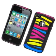 Insten Dual Layer Hybrid Hard PC/TPU Image Case Cover For Apple iPhone 4 / 4S - Colorful