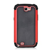 Insten Armor Vision Dual Layer Hybrid Rubberized Hard PC/Silicone Case Cover For Samsung Galaxy Note II - Black/Red