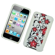 Insten Flowers Dual Layer Hybrid Hard PC/TPU Image Case Cover For Apple iPod Touch 4th Gen - White/Red