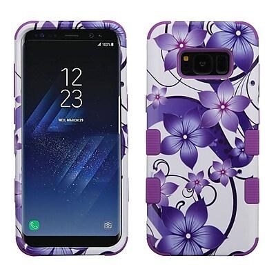 Insten Purple Hibiscus Flower/Electric Purple TUFF Hybrid Shock Absorbing Hard PC/Silicone Case For Samsung Galaxy S8