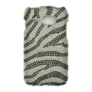 Insten Zebra Rhinestone Diamond Bling Hard Snap On Back Case Cover For Kyocera Event C5133 - Silver/Black