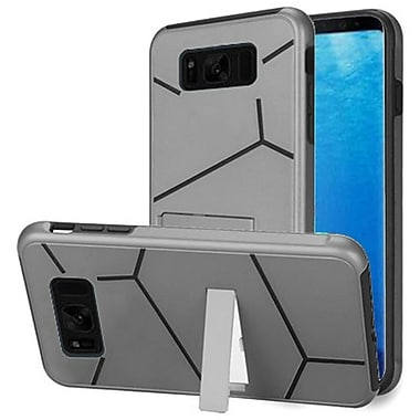 Insten HLX Hybrid Dual Layer Kickstand PC/TPU Case Cover For Samsung Galaxy S8 - Silver/Black