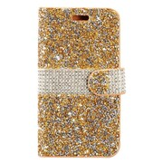 Insten Rhinestone Diamond Bling Leather Flip Wallet Pouch Case Cover For ZTE Max XL N9560 - Gold/Silver