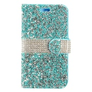 Insten Rhinestone Diamond Bling Leather Flip Wallet Pouch Case Cover For ZTE Max XL N9560 - Blue/Silver
