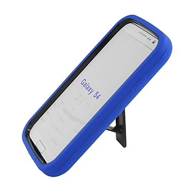 Insten Symbiosis Stand Hybrid Silicone/Hard PC Case Cover For Samsung Galaxy S4 - Blue/Black