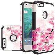 Insten Sakura Cherry Blossom Slim Hybrid Dual Layer Hard PC/Silicone Case For Google Pixel XL - White/Pink