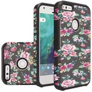 Insten Colorful Roses Floral Slim Hybrid Dual Layer Hard PC/Silicone Case For Google Pixel - Black/Pink