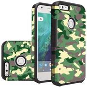 Insten Camouflage Slim Hybrid Dual Layer Hard PC/Silicone Case For Google Pixel XL - Green/Black