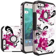 Insten Lily Slim Hybrid Dual Layer Hard PC/Silicone Case For Google Pixel XL - White/Hot Pink