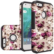 Insten Floral Slim Hybrid Dual Layer Hard PC/Silicone Case For Google Pixel - Pink/Brown