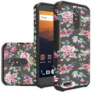 Insten Dual Layer Hybrid Hard PC/TPU Rubber Case Cover for ZTE Max XL - Tropical Romantic Colorful Roses Floral