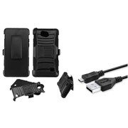 Insten Advanced Armor Hybrid Stand Case + Holster Clip for ZTE Majesty Pro LTE - Black (Bundle with Micro USB cable)